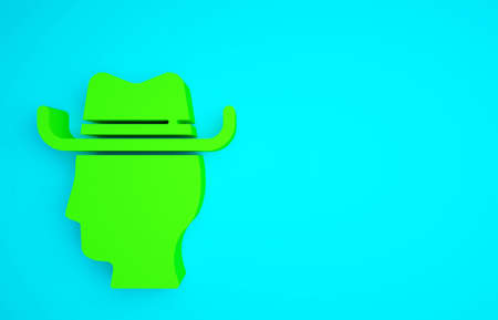 Green Cowboy icon isolated on blue background. Minimalism concept. 3d illustration 3D render