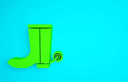 Green Cowboy boot icon isolated on blue background. Minimalism concept. 3d illustration 3D render