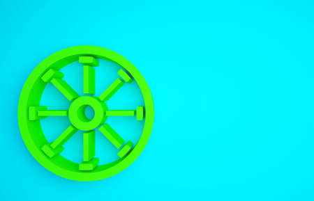 Green Old wooden wheel icon isolated on blue background. Minimalism concept. 3d illustration 3D render