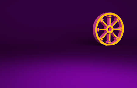 Orange Old wooden wheel icon isolated on purple background. Minimalism concept. 3d illustration 3D render Reklamní fotografie