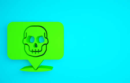 Green Skull icon isolated on blue background. Happy Halloween party. Minimalism concept. 3d illustration 3D render