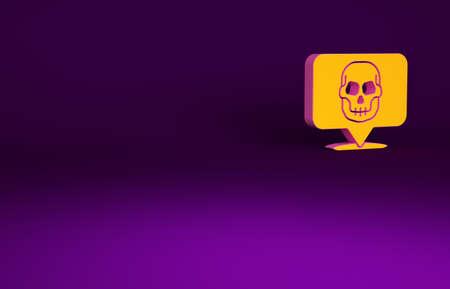 Orange Skull icon isolated on purple background. Happy Halloween party. Minimalism concept. 3d illustration 3D render Banco de Imagens