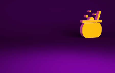 Orange Halloween witch cauldron icon isolated on purple background. Happy Halloween party. Minimalism concept. 3d illustration 3D render Banco de Imagens