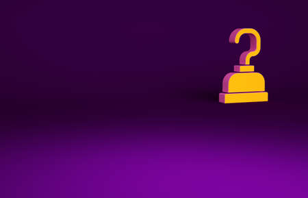 Orange Pirate hook icon isolated on purple background. Happy Halloween party. Minimalism concept. 3d illustration 3D render
