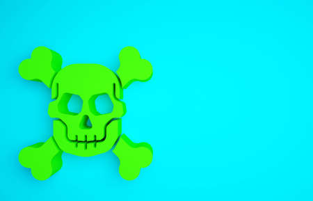 Green Skull on crossbones icon isolated on blue background. Happy Halloween party. Minimalism concept. 3d illustration 3D render