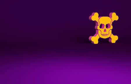 Orange Skull on crossbones icon isolated on purple background. Happy Halloween party. Minimalism concept. 3d illustration 3D render