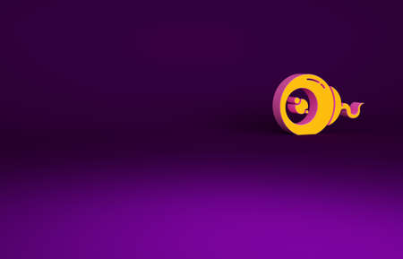 Orange Eye icon isolated on purple background. Happy Halloween party. Minimalism concept. 3d illustration 3D render Banco de Imagens