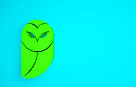 Green Owl icon isolated on blue background. Animal symbol. Minimalism concept. 3d illustration 3D render