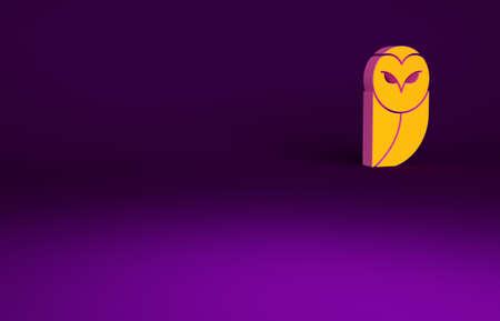 Orange Owl icon isolated on purple background. Animal symbol. Minimalism concept. 3d illustration 3D render