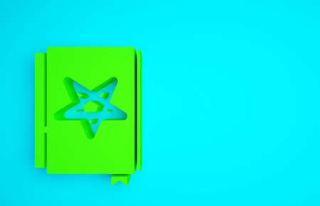 Green Ancient magic book with alchemy recipes and mystic spells and enchantments icon isolated on blue background. Minimalism concept. 3d illustration 3D render Banco de Imagens