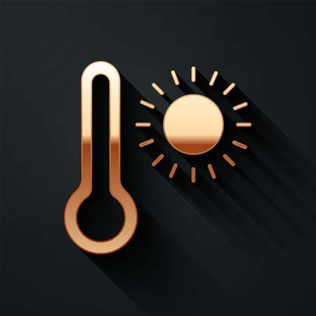 Gold Meteorology thermometer measuring heat and cold icon isolated on black background. Thermometer equipment showing hot or cold weather. Long shadow style. Vector