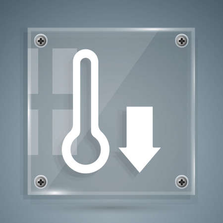 White Meteorology thermometer measuring icon isolated on grey background. Thermometer equipment showing hot or cold weather. Square glass panels. Vector