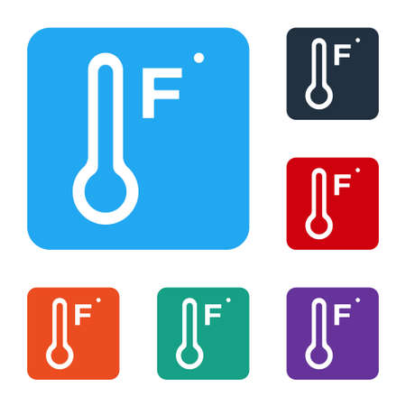White Meteorology thermometer measuring heat and cold icon isolated on white background. Temperature Fahrenheit. Set icons in color square buttons. Vector Illusztráció