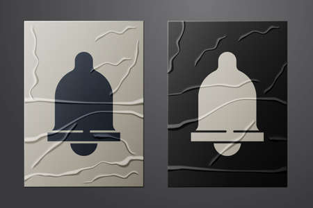 White Motion sensor icon isolated on crumpled paper background. Paper art style. Vector 向量圖像