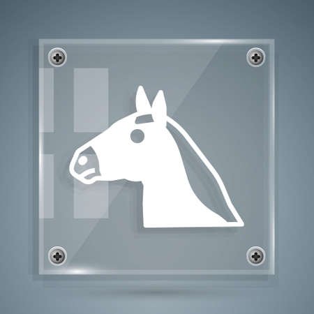 White Horse head icon isolated on grey background. Animal symbol. Square glass panels. Vector