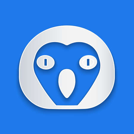 Paper cut Owl bird icon isolated on blue background. Animal symbol. Paper art style. Vector