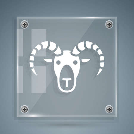 White Head of goat or ram icon isolated on grey background. Mountain sheep. Animal symbol. Square glass panels. Vector