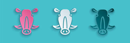 Paper cut Wild boar head icon isolated on blue background. Animal symbol. Paper art style. Vector 向量圖像
