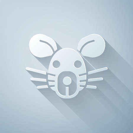 Paper cut Rat head icon isolated on grey background. Mouse sign. Animal symbol. Paper art style. Vector