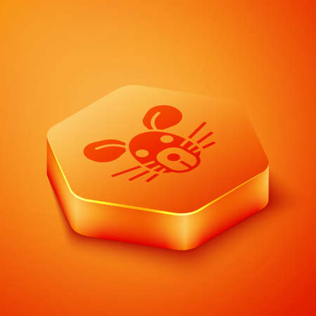 Isometric Rat head icon isolated on orange background. Mouse sign. Animal symbol. Orange hexagon button. Vector 向量圖像