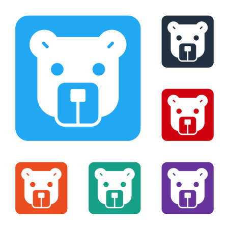 White Bear head icon isolated on white background. Set icons in color square buttons. Vector