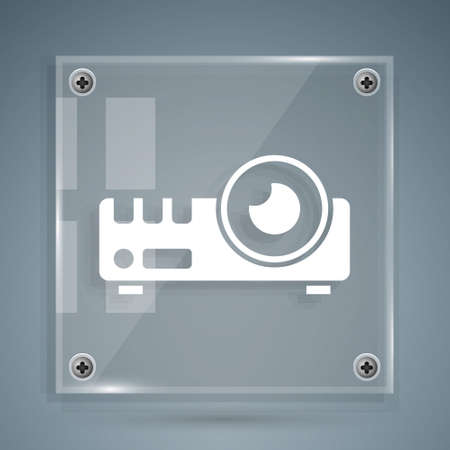 White Presentation, movie, film, media projector icon isolated on grey background. Square glass panels. Vector