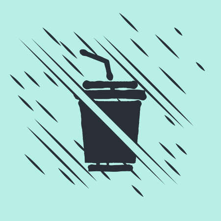 Black Paper glass with drinking straw and water icon isolated on green background. Soda drink glass. Fresh cold beverage symbol. Glitch style. Vector