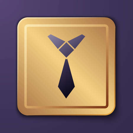 Purple Tie icon isolated on purple background. Necktie and neckcloth symbol. Gold square button. Vector 矢量图像