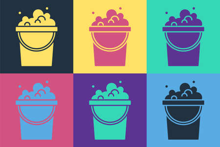 Pop art Bucket with soap suds icon isolated on color background. Bowl with water. Washing clothes, cleaning equipment. Vector Ilustracja