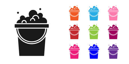 Black Bucket with soap suds icon isolated on white background. Bowl with water. Washing clothes, cleaning equipment. Set icons colorful. Vector
