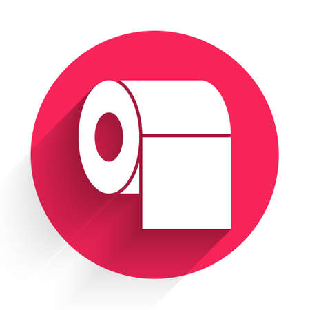 White Toilet paper roll icon isolated with long shadow. Red circle button. Vector