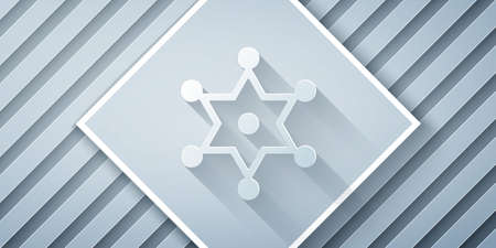 Paper cut Hexagram sheriff icon isolated on grey background. Police badge icon. Paper art style. Vector 免版税图像 - 157982453