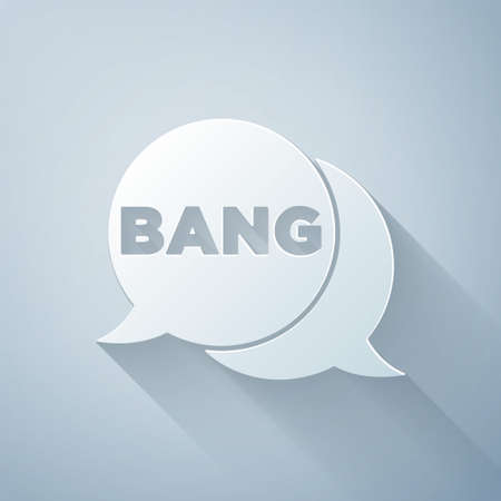 Paper cut Bang boom, gun Comic text speech bubble balloon icon isolated on grey background. Paper art style. Vector