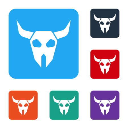 White Buffalo skull icon isolated on white background. Set icons in color square buttons. Vector Vetores