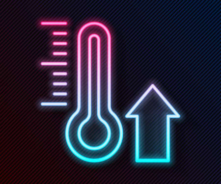 Glowing neon line Meteorology thermometer measuring icon isolated on black background. Thermometer equipment showing hot or cold weather. Vector