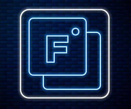 Glowing neon line Fahrenheit icon isolated on brick wall background. Vector Ilustracja