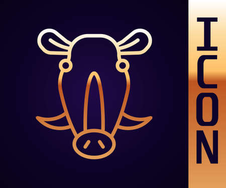 Gold line Wild boar head icon isolated on black background. Animal symbol. Vector 矢量图像