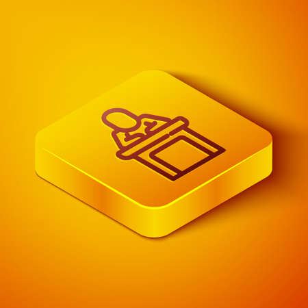 Isometric line Speaker icon isolated on orange background. Orator speaking from tribune. Public speech. Person on podium. Yellow square button. Vector