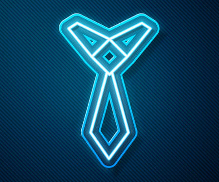 Glowing neon line Tie icon isolated on blue background. Necktie and neckcloth symbol. Vector