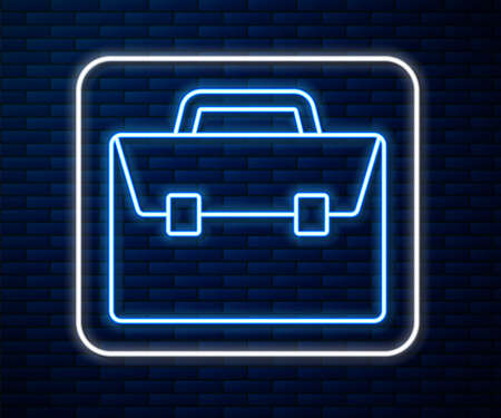 Glowing neon line Briefcase icon isolated on brick wall background. Business case sign. Business portfolio. Vector