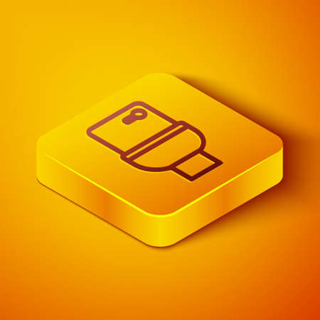 Isometric line Toilet bowl icon isolated on orange background. Yellow square button. Vector