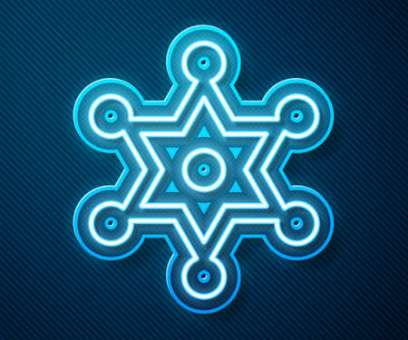 Glowing neon line Hexagram sheriff icon isolated on blue background. Police badge icon. Vector
