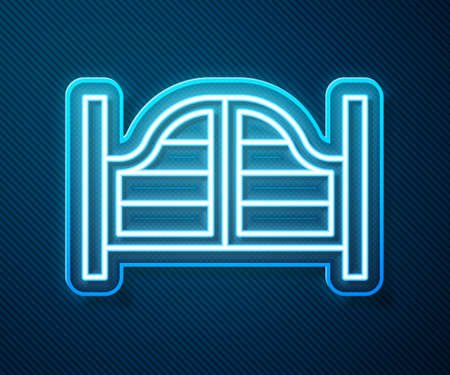 Glowing neon line Old western swinging saloon door icon isolated on blue background. Vector 矢量图像