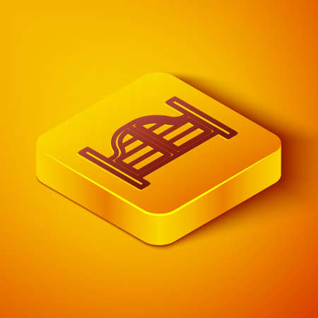 Isometric line Old western swinging saloon door icon isolated on orange background. Yellow square button. Vector