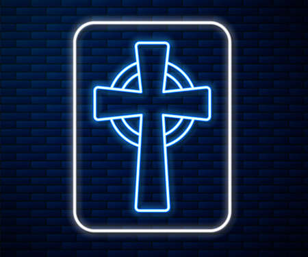 Glowing neon line Tombstone with cross icon isolated on brick wall background. Grave icon. Vector
