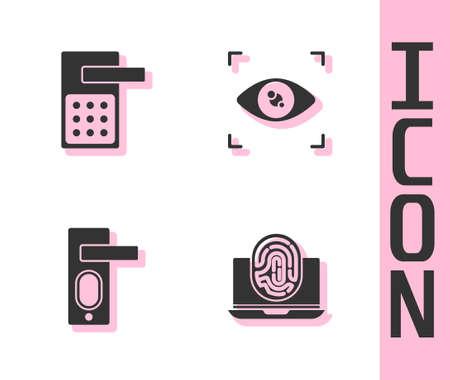 Set Laptop with fingerprint, Digital door lock, Fingerprint and Eye scan icon. Vector