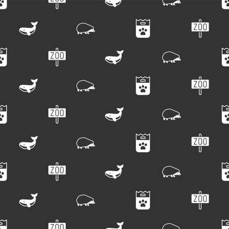 Set Bag of food, Zoo park, Whale and Hedgehog on seamless pattern. Vector