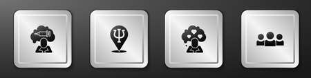 Set Addiction to the drug, Psychology, Psi, Broken heart or divorce and Users group icon. Silver square button. Vector 向量圖像