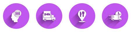 Set Online ordering and delivery, Fast by car, Cafe restaurant location and icon with long shadow. Vector Ilustrace