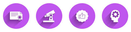 Set Certificate template, Microscope, Hand thumb up and Head with gear inside icon with long shadow. Vector